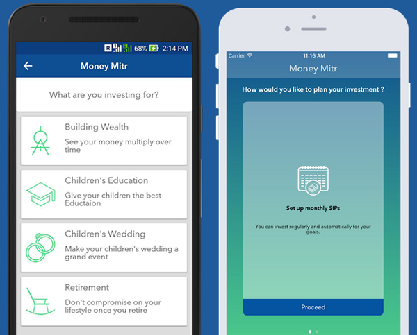 Money Mitr on the FundsIndia mobile apps for Android and iOS