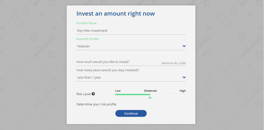 Money Mitr screen for lump sum investing in mutual funds