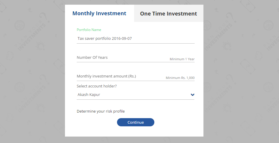 Money Mitr's screen for investing in tax-saving mutual funds