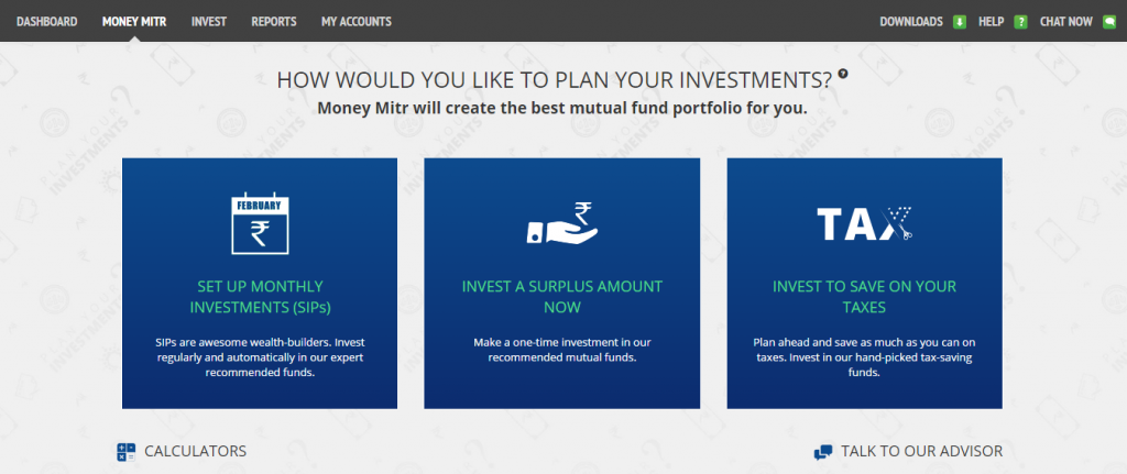 Home screen of Money Mitr - FundsIndia's robo-advisory (automated investment advisory) service