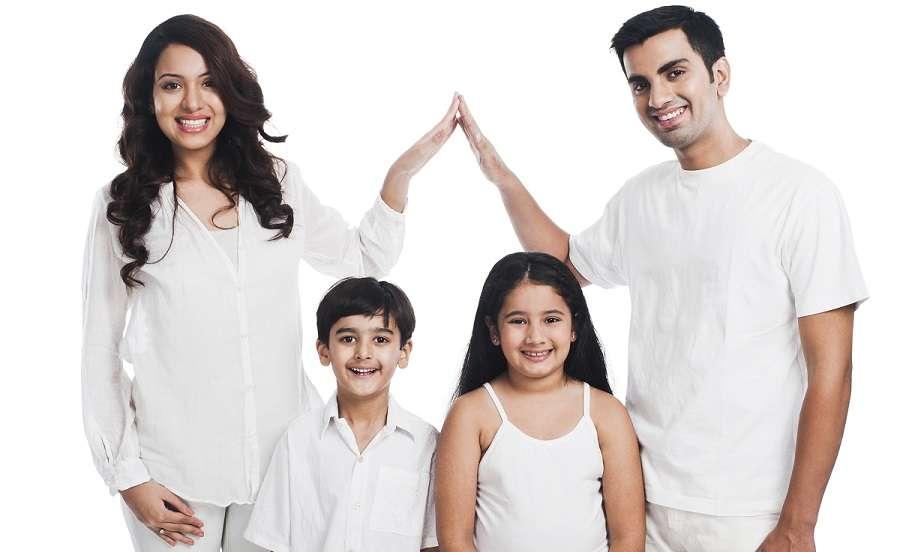 Happy, financially protected family
