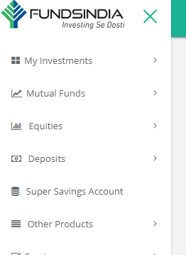 FundsIndia's new navigation menu for mutual funds, equities and other products/account related services and features
