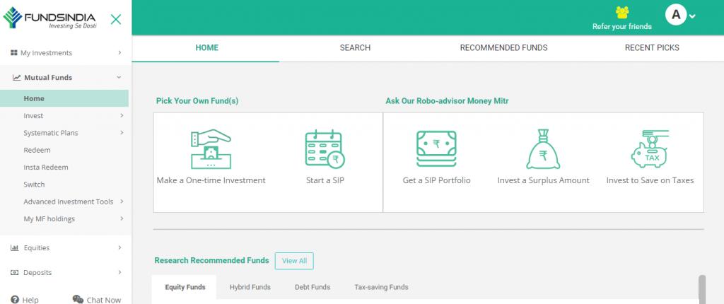 FundsIndia's revamped mutual fund homepage