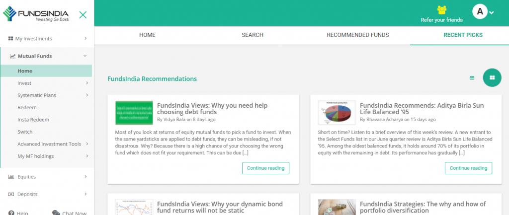 The recent research recommendations section in FundsIndia's mutual fund home page